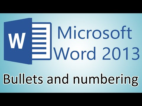 Microsoft Word 2013 Tutorial - Bullets and numbering