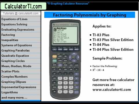 TI Tutorials, Factoring Polynomials by Graphing, TI-83, TI-83 Plus, TI-84 Plus Graphing Calculator