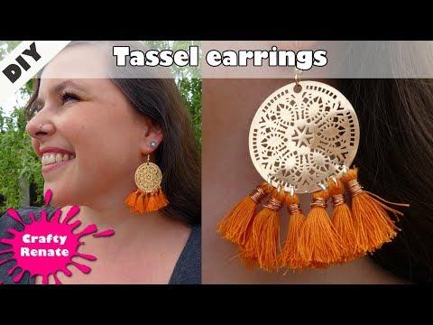 DIY easy Tassel Earrings - How to make earrings with thread