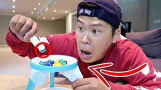 IMPOSSIBLE THIN ICE CHALLENGE!!!!!! (FIRST ONE TO DROP THE MARBLES LOSES)