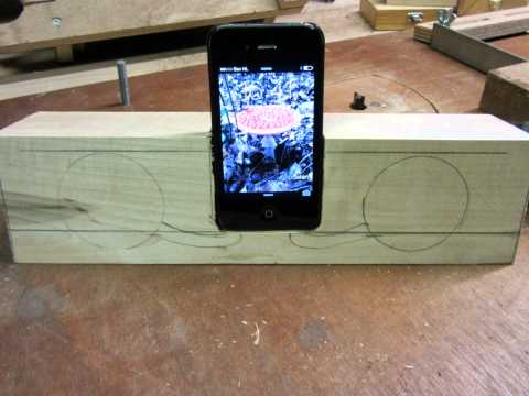 My solid wooden Iphone 4 amplifier and Iphone 4 dock stand