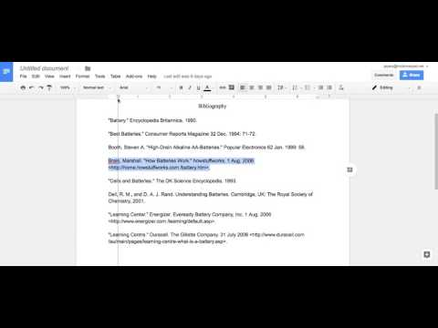 Creating a Hanging Indent for MLA Styled Bibliographies on Google Docs