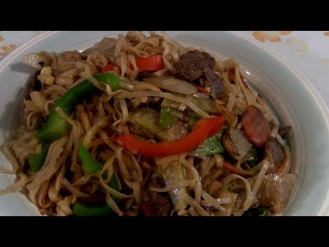 Cantonese Rice Noodles With Beef And Vegetables  (Thin Rice Noodles With Beef Stir Fry)