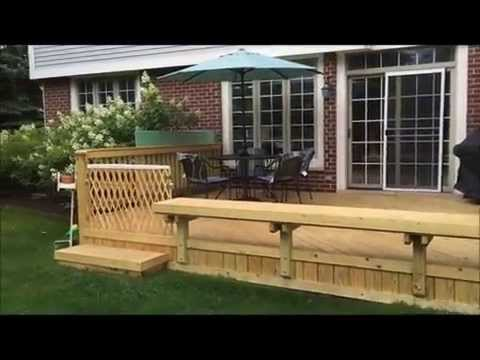 Wood Deck with Built-In Bench in Glenview, IL