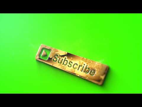 Golden YouTube Subscribe Button - Green Screen Footage Free