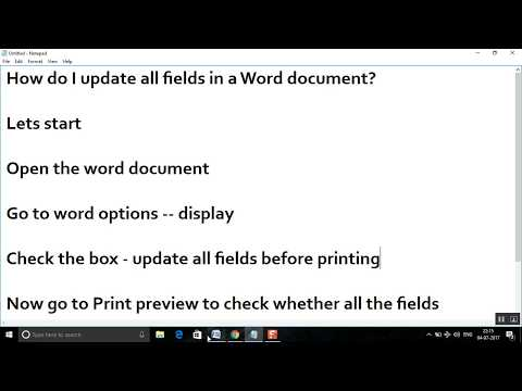 How do I update all fields in a Word document?