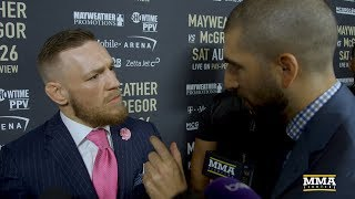 conor mcgregor reacts to la presser says floyd mayweather told him mma next