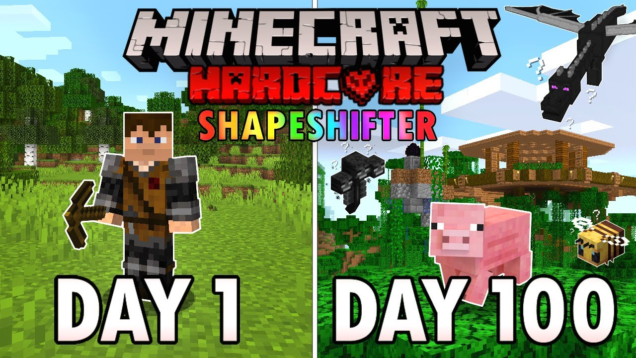 I Survived 100 Days as a SHAPESHIFTER in Hardcore Minecraft... Minecraft Hardcore 100 Days