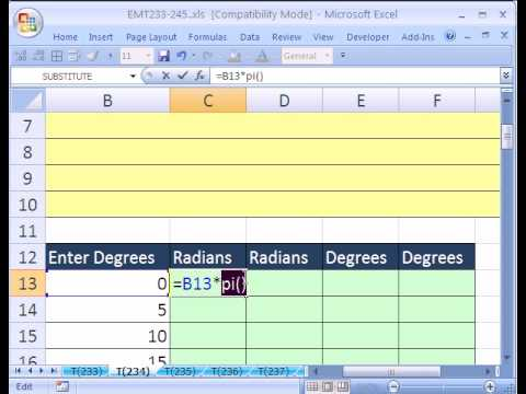 Excel Magic Trick #234: Trig functions PI RADIANS DEGREES