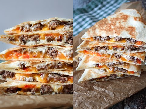 Quesadillas With Beef, Bell Pepper And Cheese - Fast Food Friday - By One Kitchen