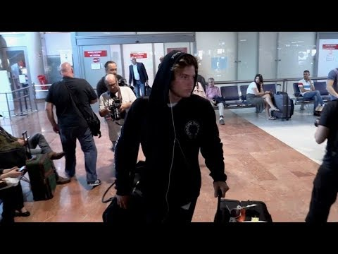 EXCLUSIVE : Jordan Barrett arriving at Nice airport for Cannes Film Festival