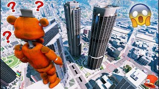 GUESS IF FREDDY WILL JUMP OFF THE TALLEST SKYSCRAPER! (GTA 5 Mods For Kids FNAF RedHatter)