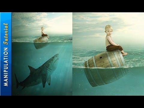 Photoshop Photo Manipulation Tutorial : Boy & Shark - Under Water Scene