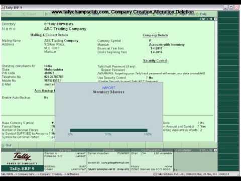 Tally.ERP 9 ,Company Creation Alteration, Deletion