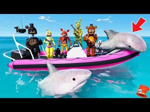 ANIMATRONICS GO SHARK HUNTING! (GTA 5 Mods For Kids FNAF RedHatter)