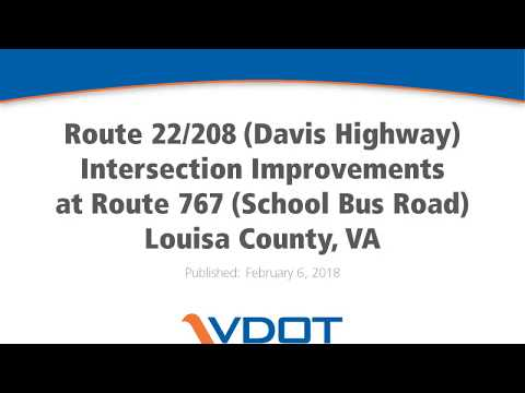 VDOT: Route 22/208 Intersection Improvements, Louisa County