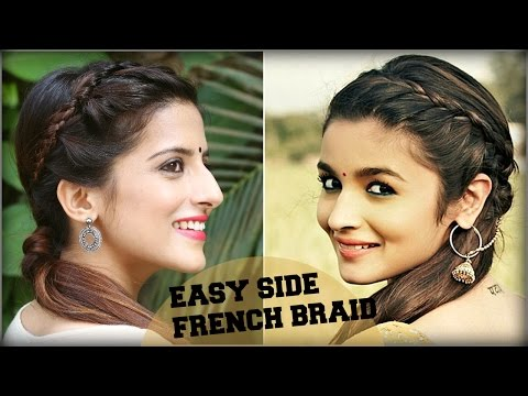 CUTE & EASY Everyday Side French Braid Ponytail For School, College / Alia Bhatt/ Indian Hairstyles