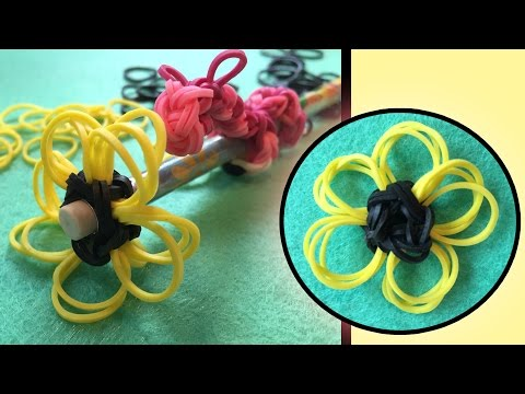 Easy Rainbow Loom Band Charms | Flower Pencil Topper | LOOMLESS