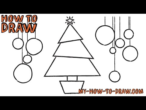 How to draw a Christmas Tree Card - Easy step-by-step drawing tutorial