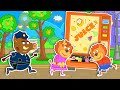 Lion Family Official Channel Vending Machine Gives Juice For Free Cartoon For Kids