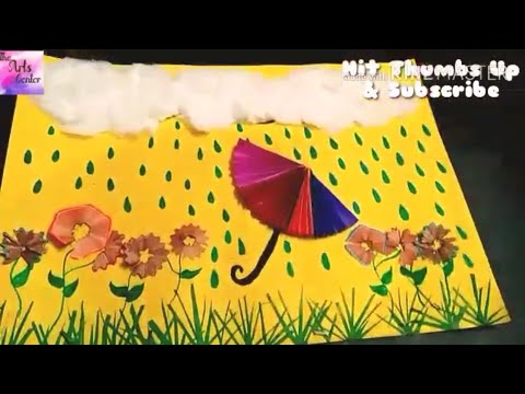 Art project: Waste material : Craft idea Raining Cloud Craft Tutorial for kids || by The Arts Center
