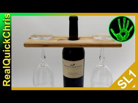 easy diy wooden wine bottle glass holder