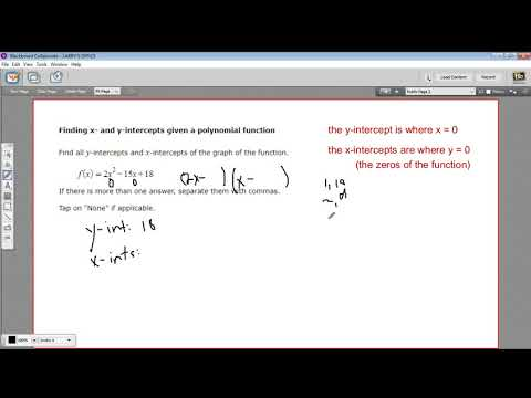 Finding the x- and y- intercepts of a polynomial function