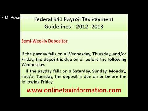 Federal 941 Payroll Tax Payment Guidelines
