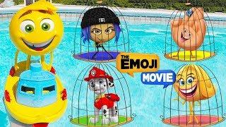 The Emoji Movie GENE SWIMMING Pool Jail Playset Lock and Key Rescue with Paw Patrol Skye