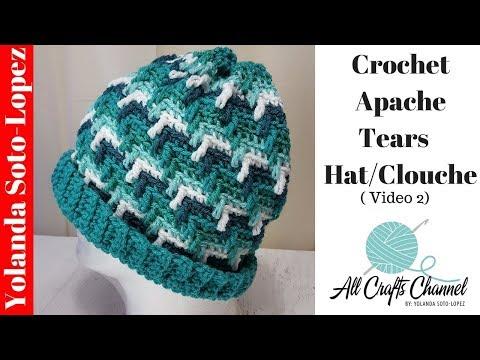 How to crochet Apache Tears Hat/Clouche  (VIdeo 2/final)  Beginner Crochet