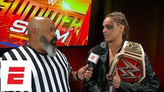 Ronda Rousey honored to win WWE Raw Women's Championship at SummerSlam | ESPN