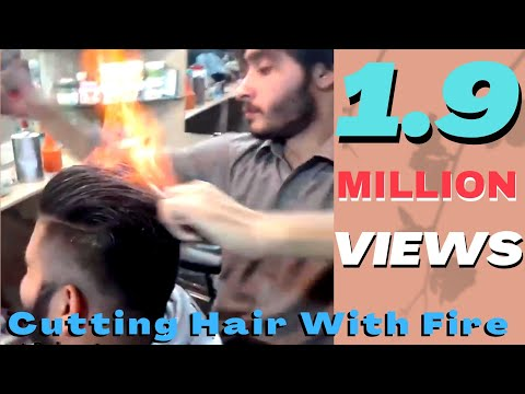 Amazing Pakistani Hair stylist cutting hairs with fire | Amazing Hair Cutting