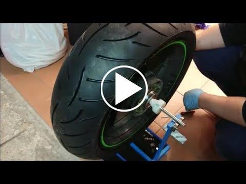Motorcycle wheel balancer homemade.