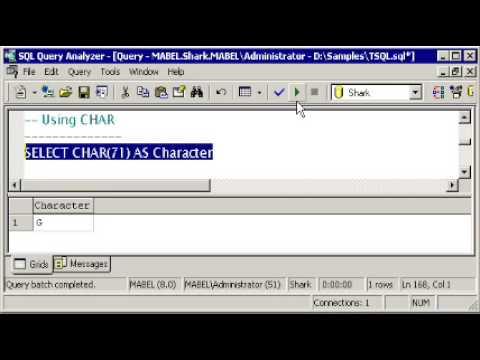 SQL SERVER Tutorial -  T-SQL: SPACE  -  CHAR & ASCII - LOWER & UPPER - LTRIM & RTRIM