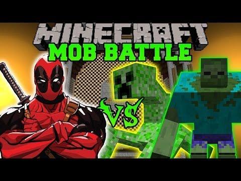 MUTANT CREEPER AND MUTANT ZOMBIE VS DEADPOOL - Minecraft Mod Battle - Mob Battles - Mutant Creatures