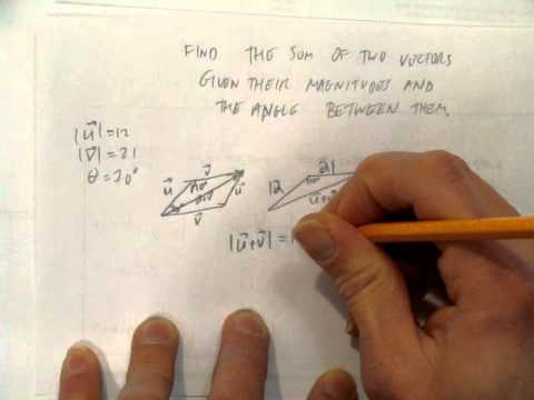FIND THE SUM OF TWO VECTORS GIVEN THEIR MAGNITUDE AND THE ANGLE BETWEEN THEM