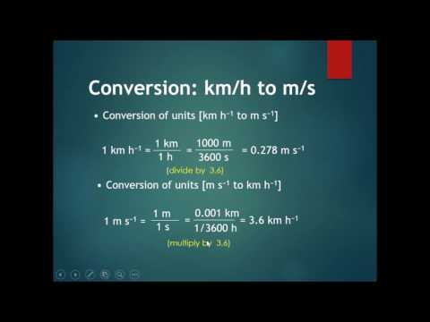 Chapter 2 Kinematics Part 3 - Converting km/h to m/s and back