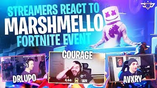 STREAMERS LIVE REACT TO THE MARSHMELLO EVENT! (Fortnite: Battle Royale)