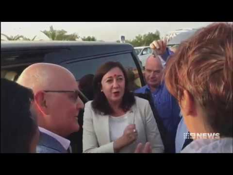 Premier Annastacia Palaszczuk confronted by Geoffrey Cousins in India over Adani's coal mine