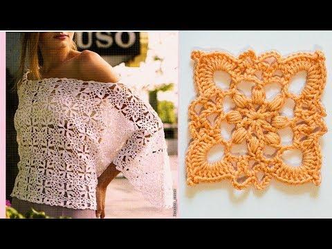 How to crochet top tunic from motifs pattern WIKA Crochet LIVE