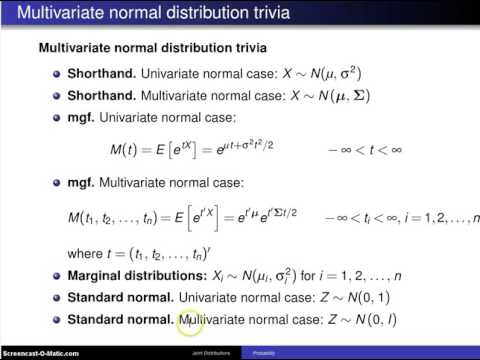Multivariate normal distribution results