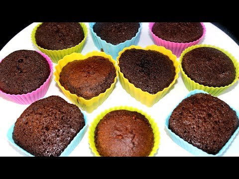 How to Make Chocolate Cup Cakes Recipe without Oven (English Subtitles)