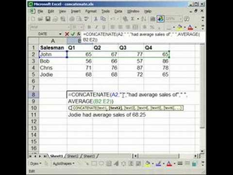 How to combine cells - Concatenate cells in Excel