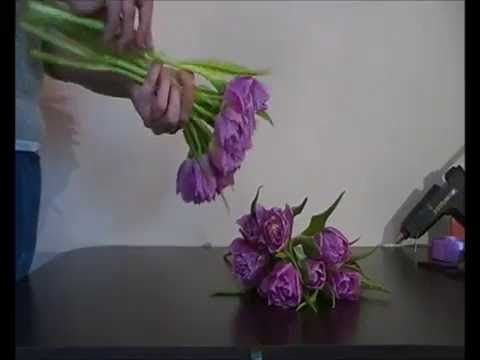 How to make Romantic Tulip Bridal Bouquet  - DIY Wedding Flowers Step by step