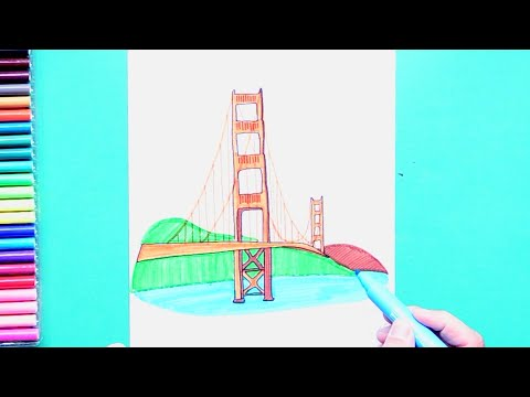 How to draw and color Golden Gate Bridge, San Francisco