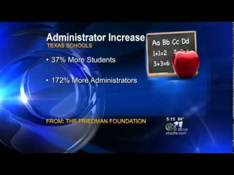KTVT-DAL (CBS): Increase in Texas School Administrators Far Outpaces Student Enrollment
