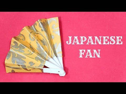 JAPANESE FAN CRAFT | PAPER FAN | ICE-CREAM STICK CRAFT | POPSICLE STICK CRAFT | FOLDING PAPER FAN