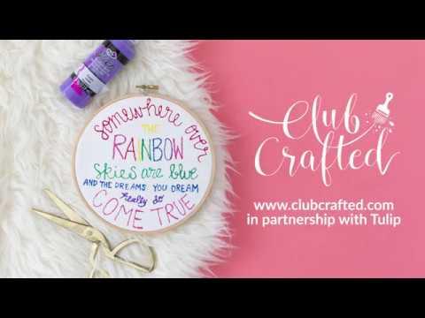 DIY Painted Typographic Embroidery Hoop Art