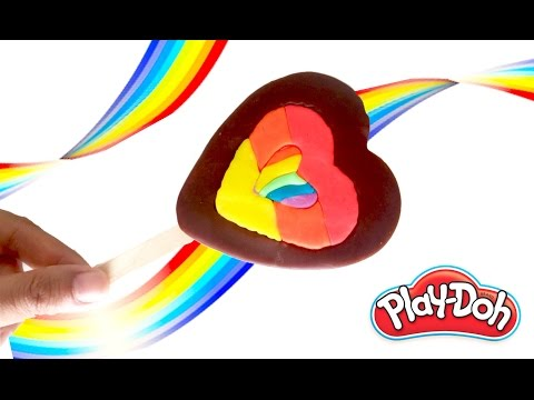 LEARNING HOW TO MAKE RAINBOW PLAY-DOH CHOCOLATE HEART ICE-CREAM POPSICLE | KIDS PLAY DOH TUTORIAL