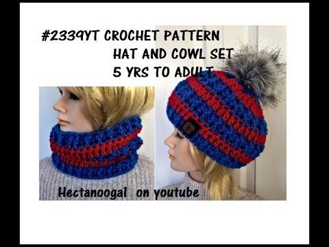 2239yt Unisex CROCHET HAT AND COWL SET, 5 YRS TO ADULT